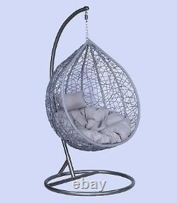Rattan Garden Hanging Egg Chair, Patio Swing Seat, Single and Double. Free Cover