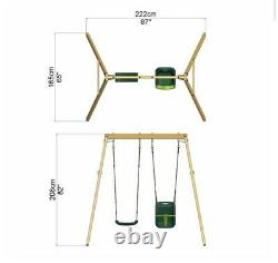 Rebo Active Kids Range Wooden Garden Double Swing with Baby Seat & Swing Anchors