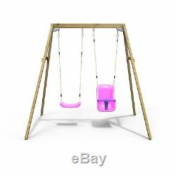 Rebo Active Range Wooden Garden Double Swing with Baby Seat Pink