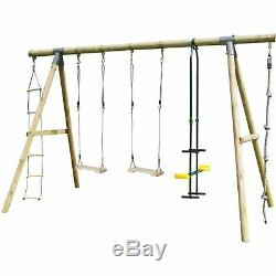 Rebo Wooden Garden Swing Sets Saturn Grey with Wooden Seats