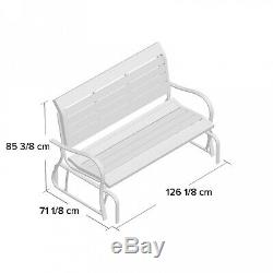 Rocking 2 Seater Swinging Garden Wooden Look Glid Bench Outdoor Patio Chair Seat