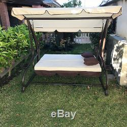 Rocking for the Garden 3 Seats with Roof Parasol Sofa Bed Swing Tilt