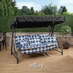 Roma 3 Seater Garden Patio Swing Seat Charcoal Frame with Classic Cushions