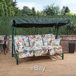 Roma 3 Seater Garden Patio Swing Seat Green Frame with Classic Cushions