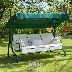 Roma 3 Seater Garden Patio Swing Seat Green Frame with Luxury Cushions