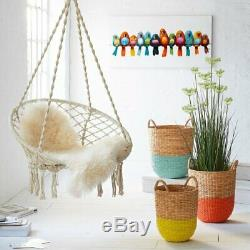 Round Hanging Chair Upholstered Cushion Seat Outdoor Garden Swinging Hammock