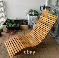 Rustic Sun Lounger Solid Wood Garden Patio Rocking Chair Recliner Swing Bed Seat