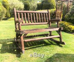 Rustic Wood Bench Garden Patio Furniture 2 Seater Swing Love Seat Rocking Chair