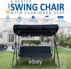 SUNMER Swing 3 Seater With Detachable Canopy, Garden Cushioned Seat