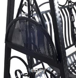 Shabby Chic Swing Seat Outdoor Patio Furniture Black Metal Bench Garden Chair