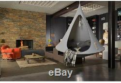Single Hanging Hammock Grey Garden Swing Seat Living Room Tent Indoor Outdoor