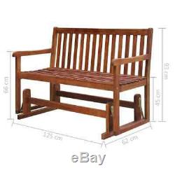 Solid Acacia Wood Garden Swing Bench 125x62x93cm Outdoor Terrace Patio Seat