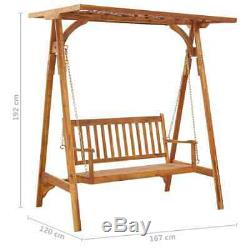Solid Acacia Wood Garden Swing Bench With Trellis/Canopy Outdoor Furniture Seat