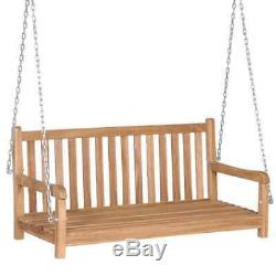 Solid Teak Garden Swing Bench 3 Seater Patio Canopy Bench Lounger Chair Seat
