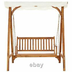Solid Wood Garden Swing Bench Swing Chair 2 Seating with Canopy Trellis Outdoor