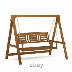 Solid Wooden Garden Swing Adult Swing 3 Seats Hammock With Stand Porch Swing New