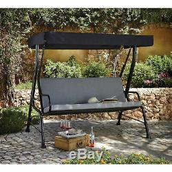 Sturdy 3 Outdoor Seater Grey Garden Patio Swing Seat Canopy Cushions Hammock Bed