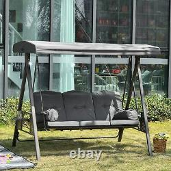 Stylish 3 Seat Back Garden Steel Swing Chair Bench Cushions Cup Trays Top Canopy