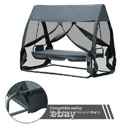 Swing Chair Lounger Bed, 3 Persons, Convertible-Grey Chair Patio Garden Seat