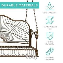 Swing Porch Outdoor Iron Patio Chair Hanging Bench Garden Seat Furniture 47L