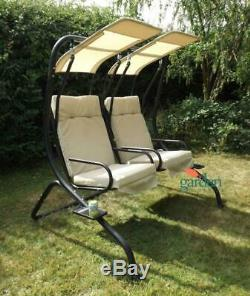 Swing Seat Canopy Patio Garden Hanging Love Outdoor 2 Seater Chair Cushion Sofa