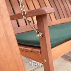 Swinging Chair Wooden Garden Outdoor Swinging Bench Seat 2 Seater Canopy UK