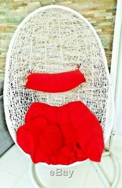 Teardrop Peardrop Swing Seat Hanging Egg Garden Chair with stand and redcushions