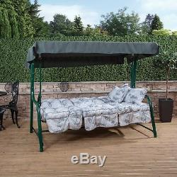 Turin 3 Seater Garden Reclining Swing Seat Green Frame with Classic Cushions