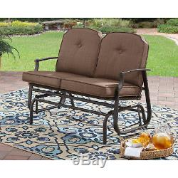 Two Person Glider Bench Outdoor Padded Swing Patio Garden Deck Porch Love Seat