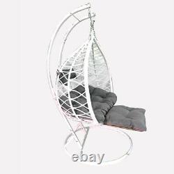Two Seat Rattan Hanging Egg Chair Swing Patio Garden Room Cushion Cover Footrest