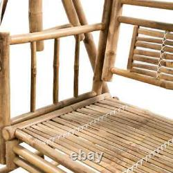 VidaXL 2-Seater Swing Bench with Palm Leaves Bamboo Garden Canopy Seat Hammock