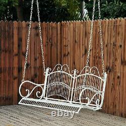 Vintage Style Garden Swing 2 Person Seater Porch Bench Curved Outdoor Seat White