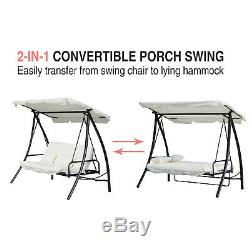 White Outdoor Swing Seat CONVERTS INTO BED Garden Shade Canopy Cushion Recliner