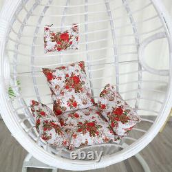 White Rattan Hanging Egg Chair with Stand Patio Garden Swing Chair Cushion Seat