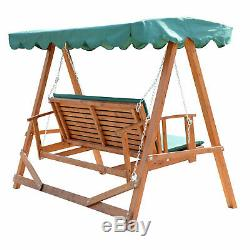 Wooden Chain Garden Swing Green Canopy Cushion Outdoor Patio Reclining Seat Bed