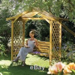 Wooden Garden Arbour With Swing Seat 2 Seater Outdoor Furniture Patio Bench Seat
