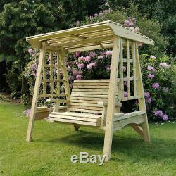 Wooden Garden Swing 2 Seat Seater Hammock Pressure Treated Solid Adult Swing
