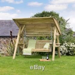 Wooden Garden Swing Bench Outdoor Large Hammock 2 Seater Stand Patio Canopy Seat