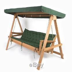 Wooden Garden Swing Bench Seat Bed Outdoor Sun Canopy Hammock Padded Cushions