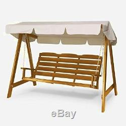 Wooden Garden Swing Seat Swinging Bench Chair 3Seater Large Frame Adult Outdoor