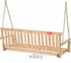Wooden Outdoor Swing Porch Hanging Seat Bench Patio Chair Garden Deck Furniture