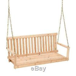 Wooden Porch Swing 4ft Natural Wood Patio Outdoor Bench Hanging Seat Yard Garden