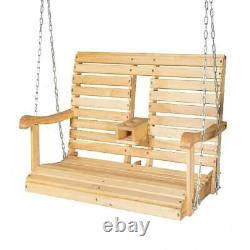 Wooden Porch Swing Outdoor Patio Hanging Bench Garden Seat With Foldable Cup Holde