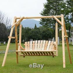 Wooden Swing Chair Rustic Natural Bench Light Wood Frame Hanging Garden Seat NEW