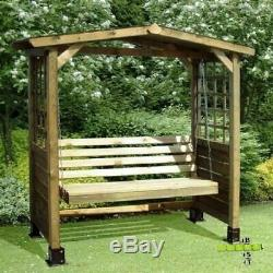 Wooden Swing Seat 2 Seater Garden Bench Seating Outdoor Hardwood Arbour Arch NEW