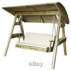 Wooden Swing Seat Cushion Canopy Garden Outdoor Timber Bench Sun Shade Cover