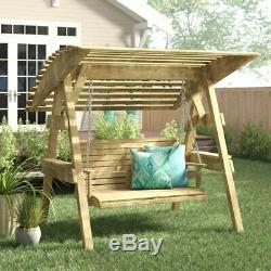 Wooden Swing Seat With Canopy 2 Seater Garden Chair Wood Sturdy Furniture Patio