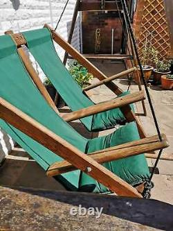 Wooden garden swing seat with canopy