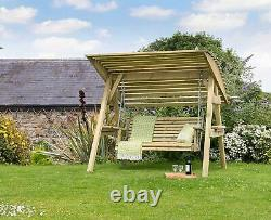 Zest 4 Leisure Miami Wooden Garden Swing Seat Bench With Roof Canopy Outdoor